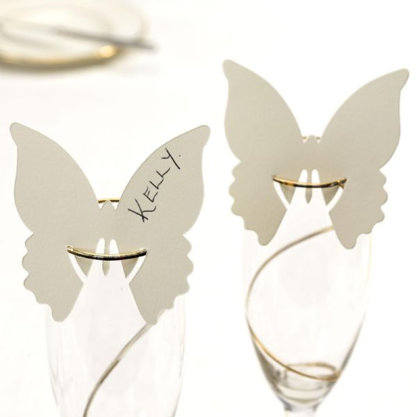Elegant Butterfly Place Cards For On Glasses - Ivory (10)